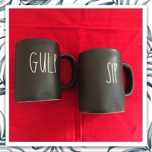 Rae Dunn SIP and GULP Black Mugs
